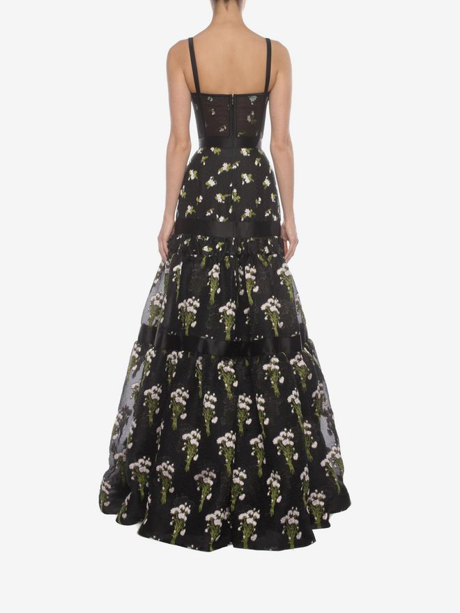 ALEXANDER MCQUEEN Long Tier Violet Jacquard Dress Long Dress D e