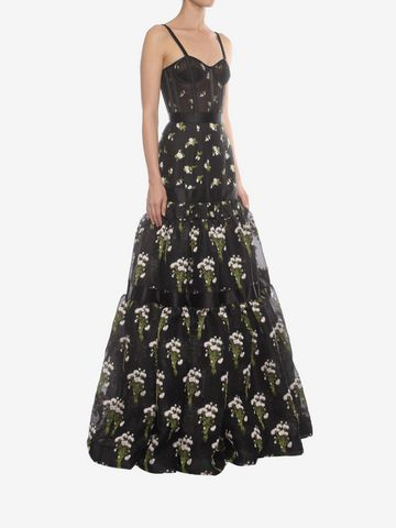 ALEXANDER MCQUEEN Long Tier Violet Jacquard Dress Long Dress D d