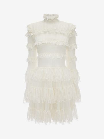 ALEXANDER MCQUEEN A-Line Ruffle Mini Dress Mini Dress D f