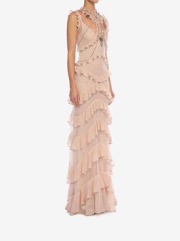 ALEXANDER MCQUEEN Sleeveless Harness Ruffle Long Dress Long Dress D d