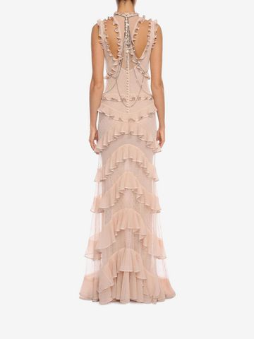 ALEXANDER MCQUEEN Sleeveless Harness Ruffle Long Dress Long Dress D e