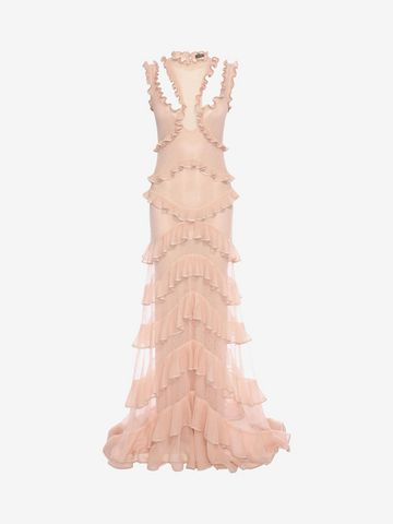 ALEXANDER MCQUEEN Sleeveless Harness Ruffle Long Dress Long Dress D f