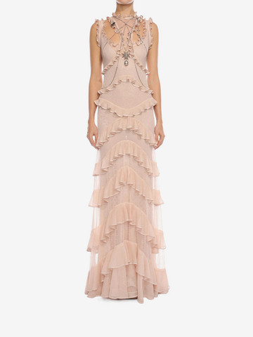 ALEXANDER MCQUEEN Sleeveless Harness Ruffle Long Dress Long Dress D r
