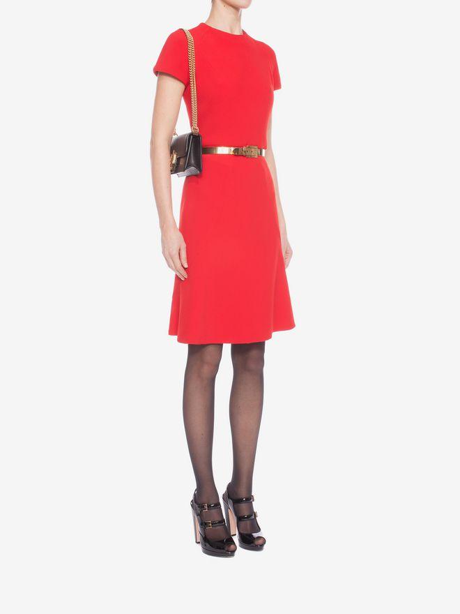 ALEXANDER MCQUEEN Cap Sleeve Flared Dress Mid-length Dress D d