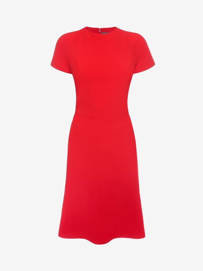 ALEXANDER MCQUEEN Cap Sleeve Flared Dress Mid-length Dress D f