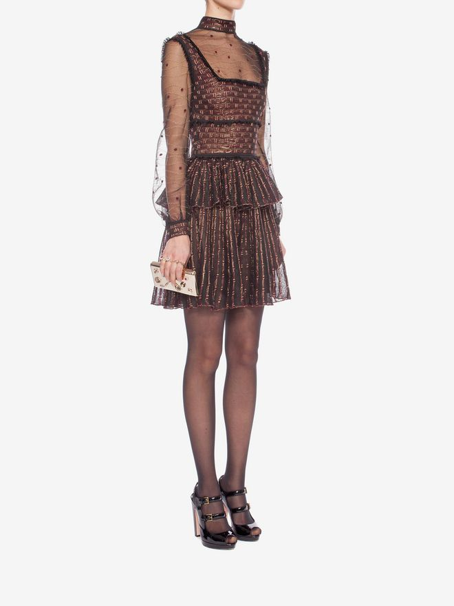 ALEXANDER MCQUEEN Patchwork Sheer Lace Mini Dress Mini Dress D d