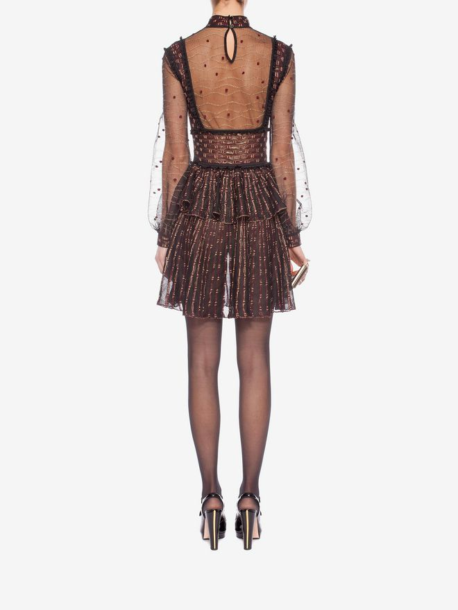 ALEXANDER MCQUEEN Patchwork Sheer Lace Mini Dress Mini Dress D e