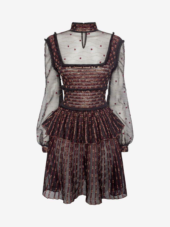 ALEXANDER MCQUEEN Patchwork Sheer Lace Mini Dress Mini Dress D f