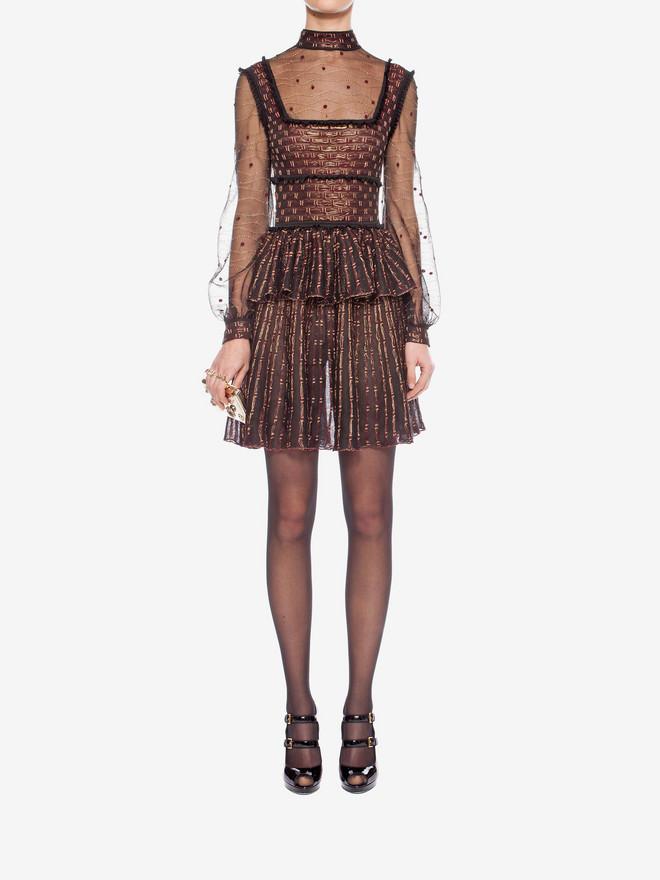 ALEXANDER MCQUEEN Patchwork Sheer Lace Mini Dress Mini Dress D r
