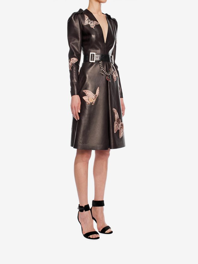 ALEXANDER MCQUEEN Lambskin Moth Embroidered Dress Mid-length Dress D d