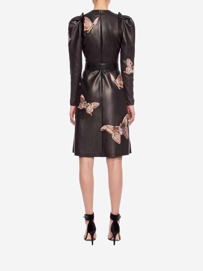 ALEXANDER MCQUEEN Lambskin Moth Embroidered Dress Mid-length Dress D e