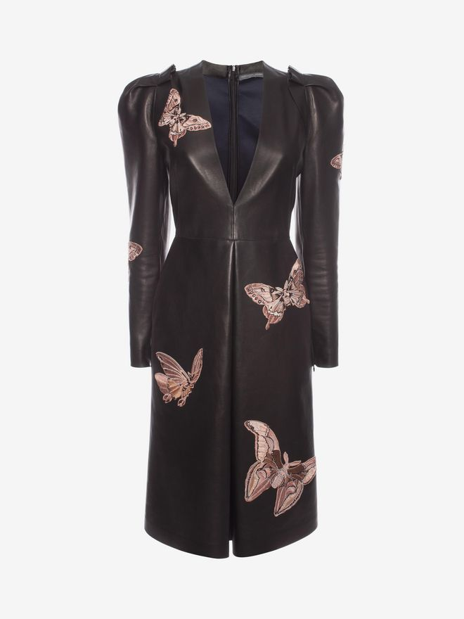 ALEXANDER MCQUEEN Lambskin Moth Embroidered Dress Mid-length Dress D f