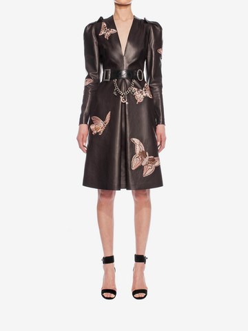 ALEXANDER MCQUEEN Lambskin Moth Embroidered Dress Mid-length Dress D r