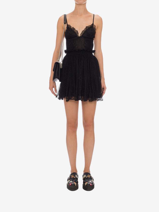 ALEXANDER MCQUEEN Punk Flower Lace Bra Dress Mini Dress D r