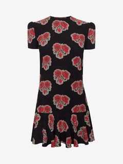 ALEXANDER MCQUEEN Mini Dress D Poppy Print Ruffle Dress f