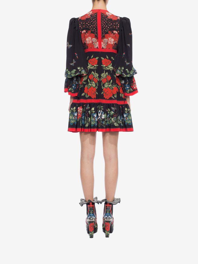 ALEXANDER MCQUEEN Floral Empire-line Dress Mini Dress D e