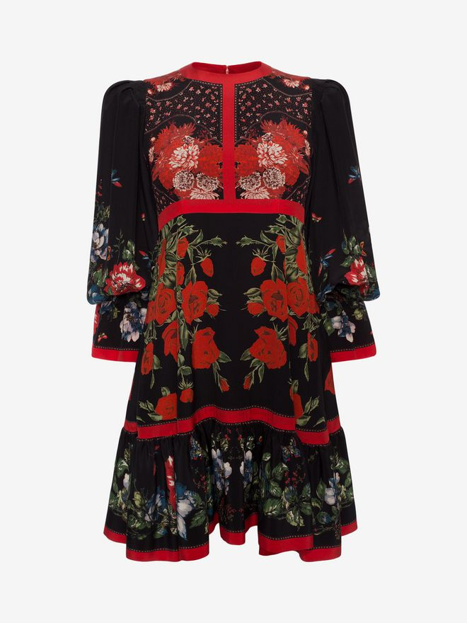 ALEXANDER MCQUEEN Floral Empire-line Dress Mini Dress D f