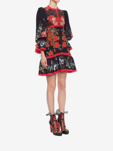 ALEXANDER MCQUEEN Floral Empire-line Dress Mini Dress D d