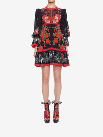 ALEXANDER MCQUEEN Floral Empire-line Dress Mini Dress D r