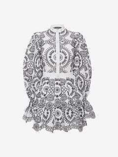 ALEXANDER MCQUEEN Mini Dress D Broderie Anglaise Poplin Dress f