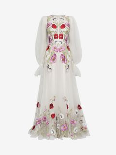 ALEXANDER MCQUEEN Long Dress D Poppy Embroidered Tulle Long Dress  f