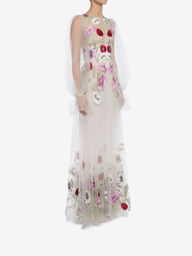 ALEXANDER MCQUEEN Poppy Embroidered Tulle Long Dress  Long Dress D d