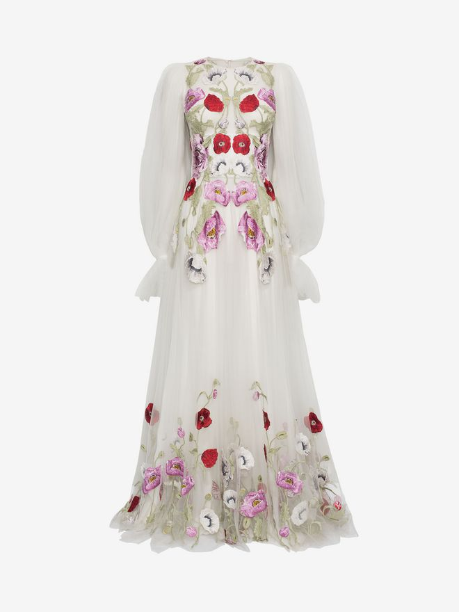 ALEXANDER MCQUEEN Poppy Embroidered Tulle Long Dress  Long Dress D f