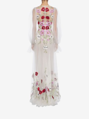 ALEXANDER MCQUEEN Poppy Embroidered Tulle Long Dress  Long Dress D e