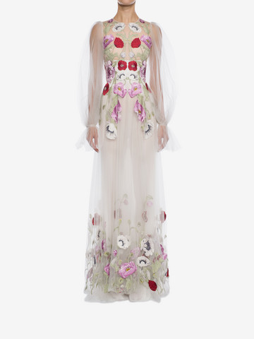 ALEXANDER MCQUEEN Poppy Embroidered Tulle Long Dress  Long Dress D r