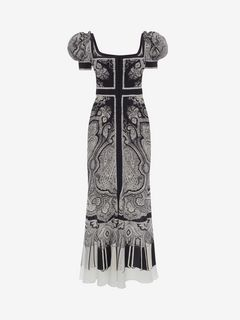 ALEXANDER MCQUEEN Long Dress D Paisley on Crepe de Chine Long Dress f