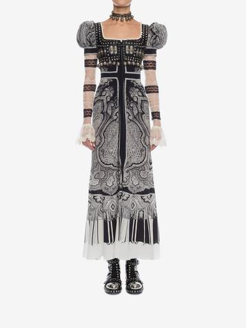 "ALEXANDER MCQUEEN ""Paisley on Crepe de Chine"" Long Dress Long Dress D r"
