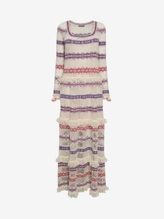 ALEXANDER MCQUEEN Long Dress D Jacquard & Lace Knitted Long Dress f