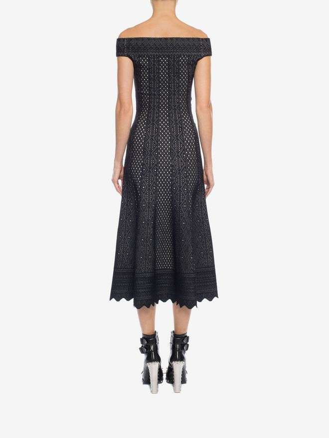 ALEXANDER MCQUEEN Off-The-Shoulder Jacquard Lace Dress Long Dress Woman e