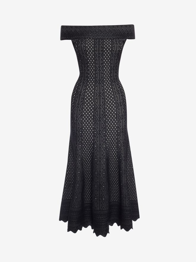 ALEXANDER MCQUEEN Off-The-Shoulder Jacquard Lace Dress Long Dress Woman f