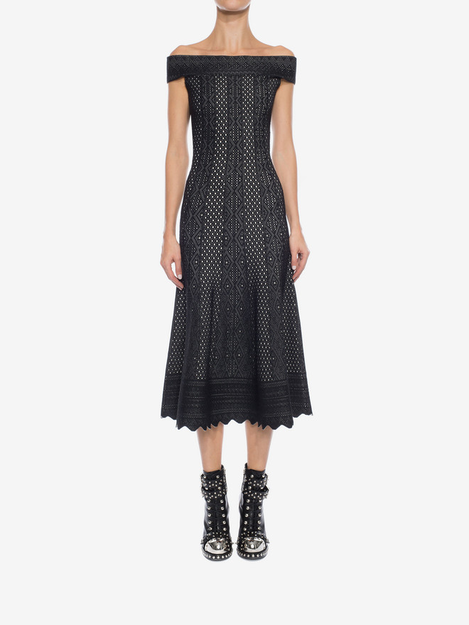 ALEXANDER MCQUEEN Off-The-Shoulder Jacquard Lace Dress Long Dress Woman r