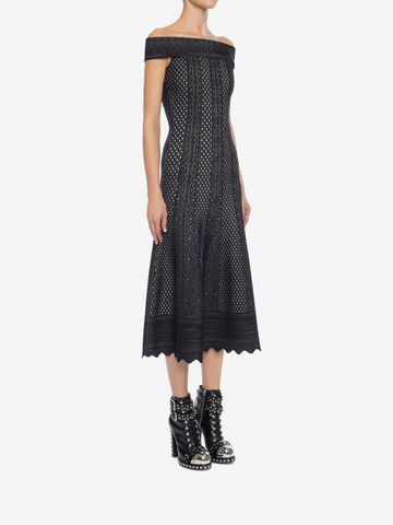 ALEXANDER MCQUEEN Off-The-Shoulder Jacquard Lace Dress Long Dress Woman d