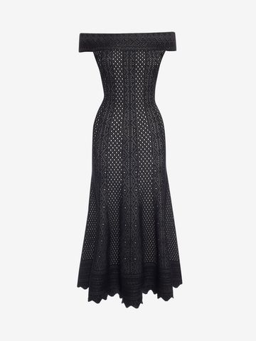 ALEXANDER MCQUEEN Off-the-Shoulder Jacquard Lace Dress Long Dress D f