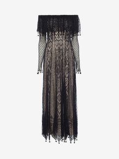 ALEXANDER MCQUEEN Long Dress D Pom Pom Lace Dress f