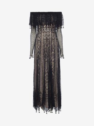 ALEXANDER MCQUEEN Pom Pom Lace Dress Long Dress D f