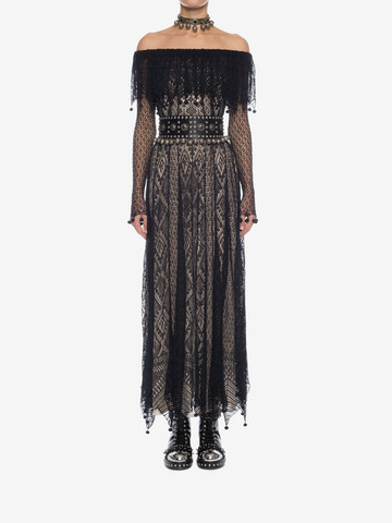 ALEXANDER MCQUEEN Pom Pom Lace Dress Long Dress D r