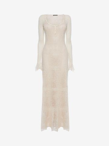 ALEXANDER MCQUEEN Open Lace Long Dress Long Dress D f