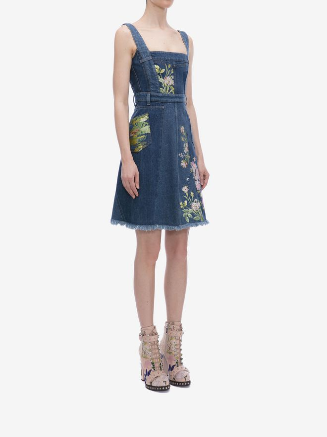 ALEXANDER MCQUEEN Floral Embroidered Denim Dress Mini Dress Woman d