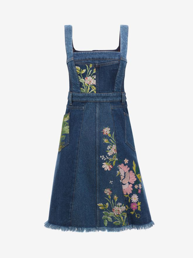 ALEXANDER MCQUEEN Floral Embroidered Denim Dress Mini Dress D f