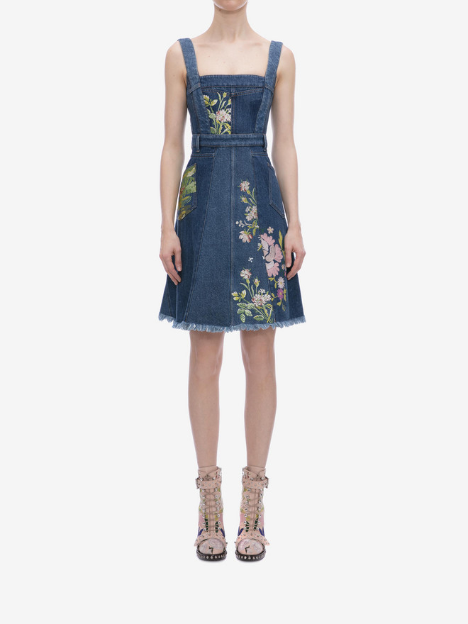 ALEXANDER MCQUEEN Floral Embroidered Denim Dress Mini Dress D r