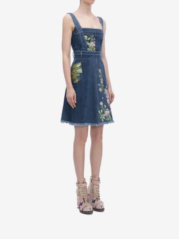 ALEXANDER MCQUEEN Floral Embroidered Denim Dress Mini Dress D d