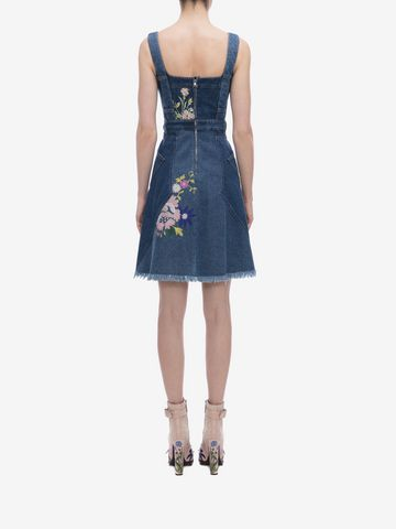 ALEXANDER MCQUEEN Floral Embroidered Denim Dress Mini Dress D e
