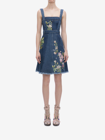 ALEXANDER MCQUEEN Floral Embroidered Denim Dress Mini Dress Woman r