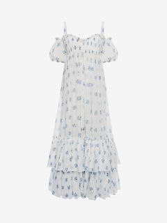 ALEXANDER MCQUEEN Long Dress D Ruffled Long Floral Dress f