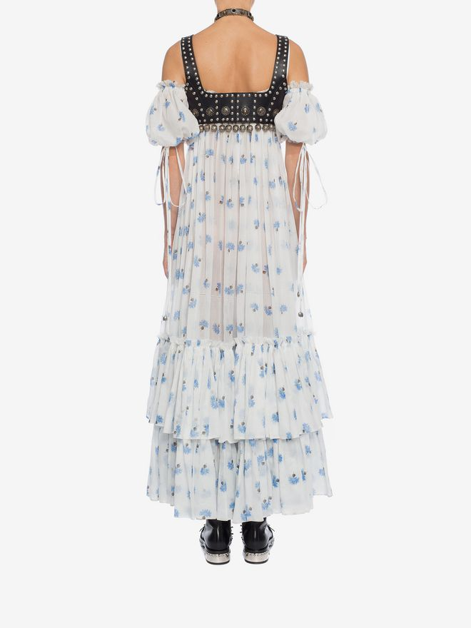 ALEXANDER MCQUEEN Ruffled Long Floral Dress Long Dress D e