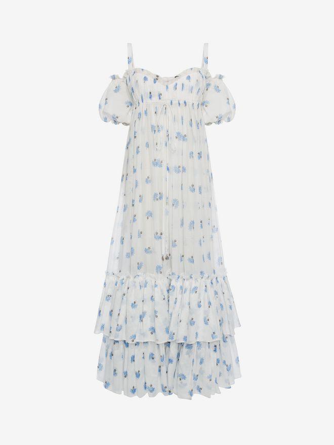 ALEXANDER MCQUEEN Ruffled Long Floral Dress Long Dress D f